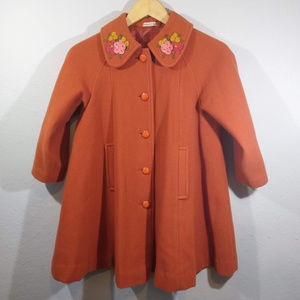 Autumn Orange Girls Embroidered Wool Swing Coat